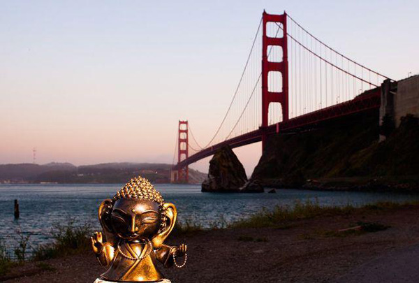 "Lil Buddha with the Golden Gate Bridge! Please join MissyMToyz in starting a viral campaign on ""#whereislilbuddhatoday?"